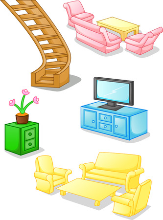 set of furniture and equipment for the home Vector