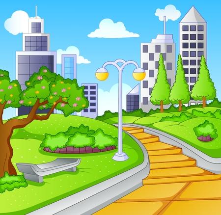 都市公共公園の夏の日  イラスト・ベクター素材