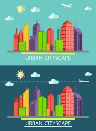 Flat design urban landscape illustration Vector