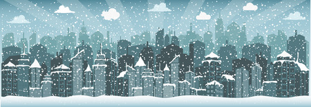 City in winter (Christmas) Vector