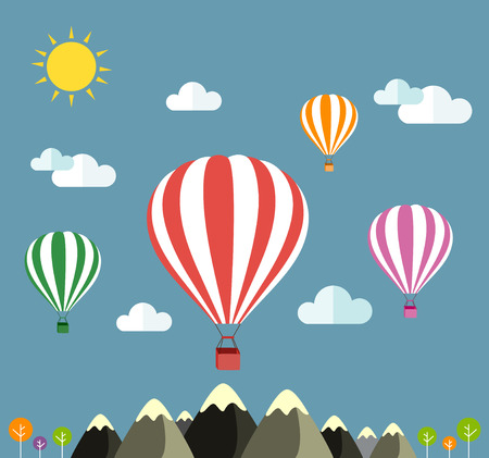 hot tour: Air balloon flying over the mountain Icons of traveling Illustration