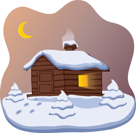 Small cute cottage with a Christmas tree Vector
