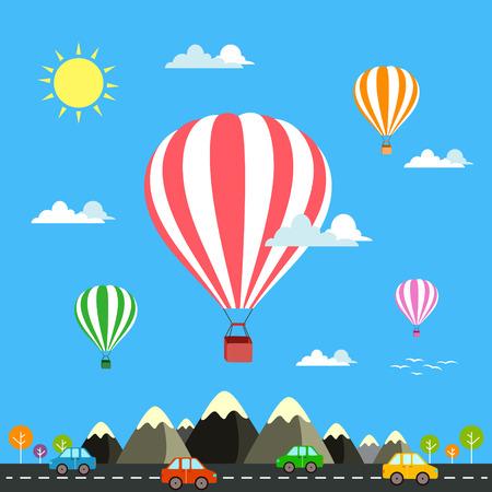 山旅のアイコンの上を飛んで、熱気球