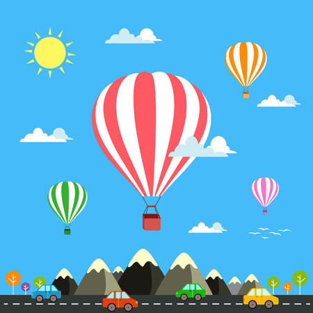 hot air: Air balloon flying over the mountain Icons of traveling Illustration