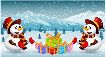 christmas gift: Snowman with christmas gift