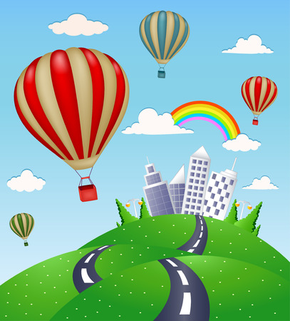 Fantasy landscape with road and hot air balloon Vector