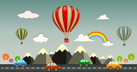 hot air: Hot air balloon with view highway