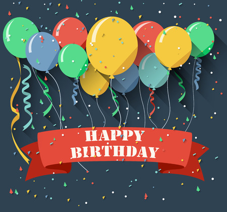 welcoming party: Birthday background with flying balloonsflat design style Illustration