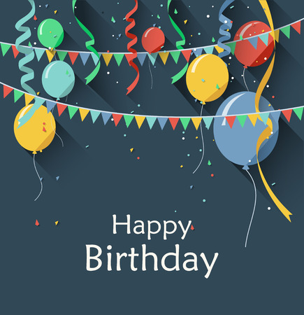 Birthday background with flying balloons/flat design style Stock Illustratie