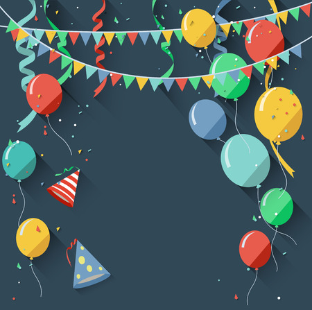 Birthday background with flying balloons/flat design style Illustration