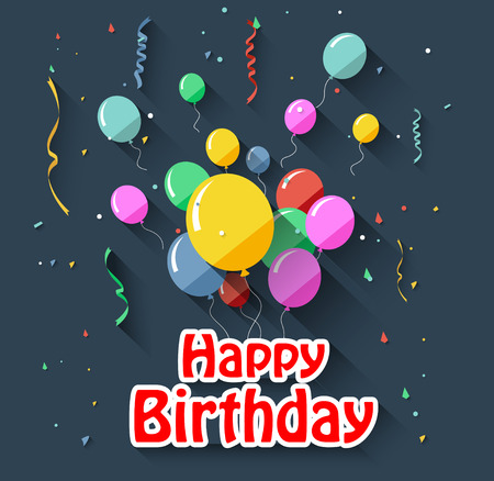 balloons celebration: Birthday background with flying balloonsflat design style Illustration