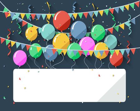 Verjaardag achtergrond met lege teken / plat design stijl Stockfoto - 34691657