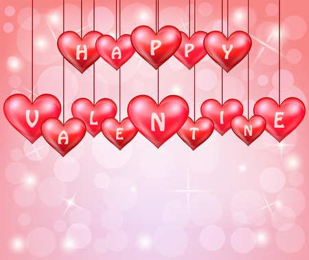 Valentines day with hanging hearts Vector