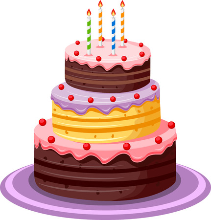 tortas de cumpleaños: Torta de cumpleaños Vectores