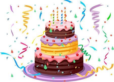 felicitaciones cumplea�os: Pastel de cumplea?os Vectores