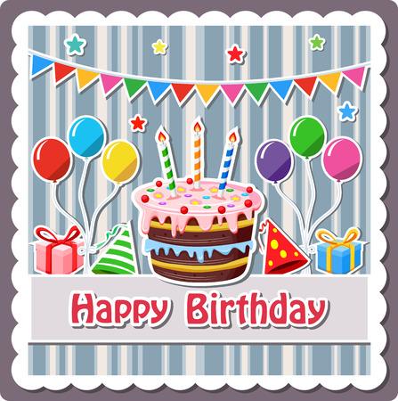 Birthday cake label 일러스트