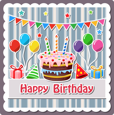 Birthday cake label Stock Illustratie