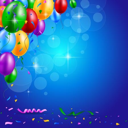 Happy birthday party met ballonnen en linten achtergrond Stockfoto - 43264257