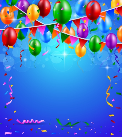 Happy Birthday party with balloons and ribbons background