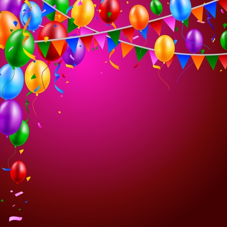 welcoming party: Happy Birthday party with balloons and ribbons background