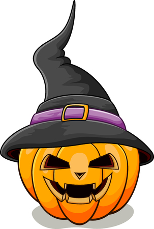 witch face: Halloween pumpkin with black witches hat