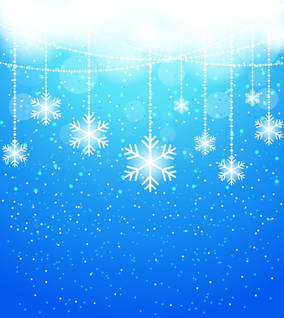 cold season: Winter abstract snowflake background in blue