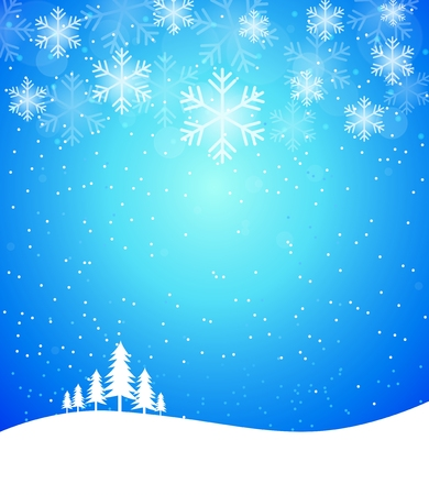 Winter abstract snowflake background in blue