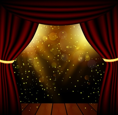 party club: Stage lighting background with spotlight effects Illustration