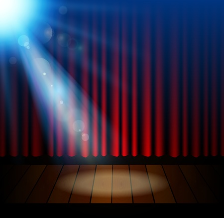 performance art: Stage lighting background with spotlight effects Illustration