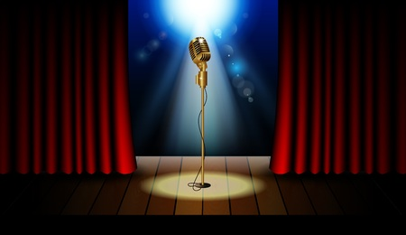 cortinas rojas: Stage with red curtains, microphone and spotlight