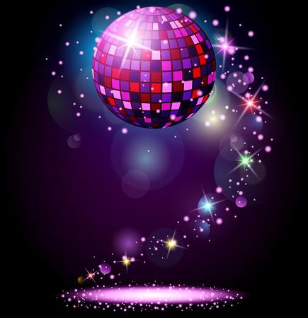 輝くミラーボール。夜のパーティー