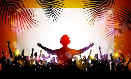 fiesta en la playa del verano con las siluetas de baile Ilustración de vector