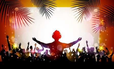 Sommer-Strand-Party mit Tanz Silhouetten Vektorgrafik