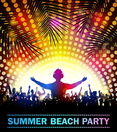 beach party: Summer beach party with dance silhouettes