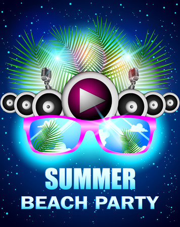 beach party: Summer beach party with speakers and sunglasses