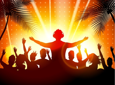 party dj: fiesta en la playa del verano con las siluetas de baile Vectores