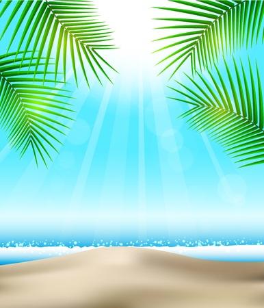 sun beach: Beach and tropical sea with bright sun