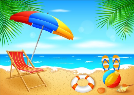 beach chairs: Beach and tropical sea with bright sun