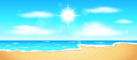 Strand und tropischen Meer mit hellen Sonne Vektorgrafik