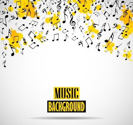 Abstracte muzikale achtergrond met notities Stock Illustratie