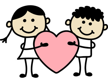 Couple with big red heart. Valentine day