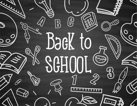 schoolkid: Seamless blackboard background with drawings
