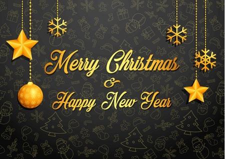 christmas greeting card: Golden christmas greeting card