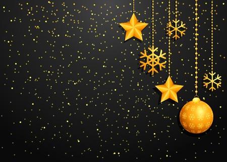 christmas greeting: Golden christmas greeting card
