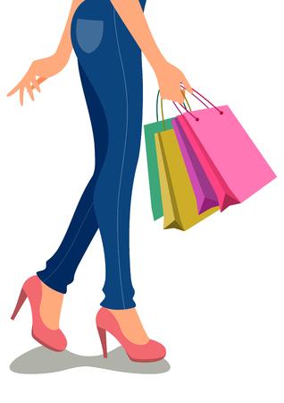 美しい漫画の女の子のショッピング
