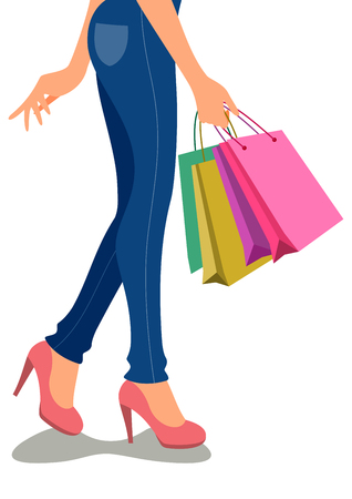 Beautiful cartoon girls shopping