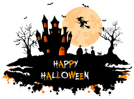 Halloween background with cemetery, bats and castle