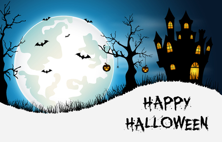 Halloween background with castle and bats