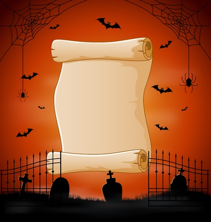 Vector illustration of Halloween background with cemetery and bats