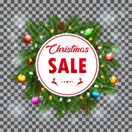 Vector illustration of Christmas Sale with fir branches and pine cones